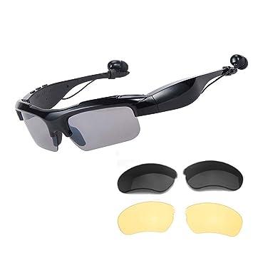 WOTUMEO Multifunción Digital Sport Bluetooth Gafas De Sol Gafas Auriculares Inalámbricos Música Estéreo Manos Libres Auriculares Conducir Gafas Con ...