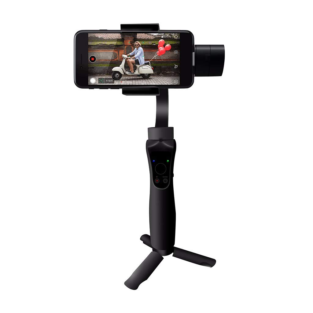 Smartphone Gimbal Stabilizer 3-Axis Handheld Gimble for iPhone Xs Max Xr X 8 Plus 7 6 Se Mobile Gimbal Stabilizer for Android Phone Samsung Galaxy S9+ S9 S8+ S8 S7 S6 Q2 Edge (Deep Black)