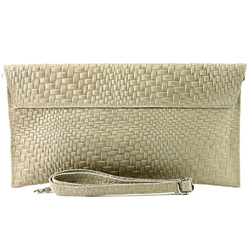 Colors Leather bag bag Sand bag Wrist underarm Clutch T106F bag ital Handbag de Evening Braid Modamoda pattern Aqx4Ea4