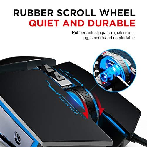 Mouse Gaming Silenzioso, Inphic 4800DPI Mouse da Gioco Ottico USB con Cavo, Regolazione 5 DPI, 6 Pulsanti Programmabili, 7 LED RGB con peso extra per i giocatori, PC Laptop Mac, Nero