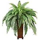 Nearly Natural 6553 Boston Fern with Wood Vase Decorative Silk Plant, Green