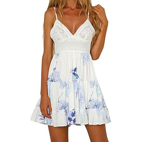 Forthery Fashion Womens Mini Dress Summer Backless Spaghetti Strap Beach Dress (Blue, US XL = Asia (Contrast Ruffle Back Panty)