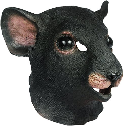 Star Power Realistic Rat Full Head Animal Mask, Black, One (Rat Mask)