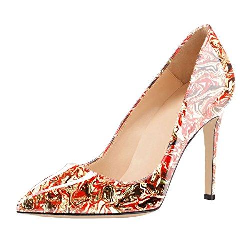 SexyPrey Women's Patent Leather Multi-color Stiletto Heels Pointed Toe Plus Size Court Shoes D-Colorful rAKM4DTN