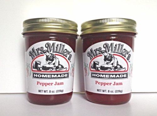Mrs. Miller's Amish Homemade Pepper Jam 8 oz - Pack of 2 (Boxed) by Mrs. Miller's