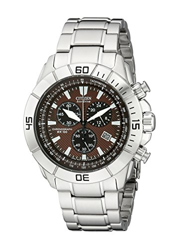 Citizen Men's AT0810-55X Stainless Steel Eco-Drive Watch with Brown (World Timer Stainless Steel Chronograph)