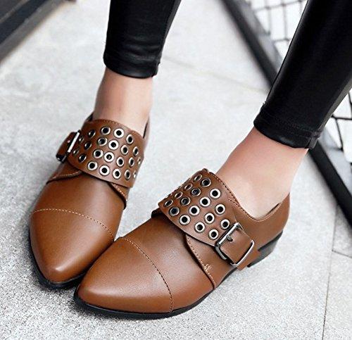 On Low Monk Dressy Slip Toe Womens Heels Strap Pointed Buckle Shoes Aisun Vintage Brown Pumps wnXvx0qXz