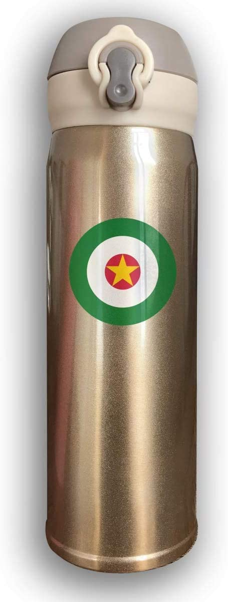 Bestqe Suriname Fuerza Aérea Doble pared con aislamiento al vacío Botellas de agua de acero inoxidable Taza de viaje Termo de agua 17 Oz