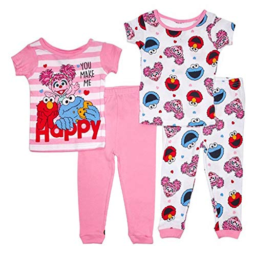 Sesame Street Girl's 4pc You Make Me Happy Abby, Elmo and Cookie Monster Pajama Set (2T)