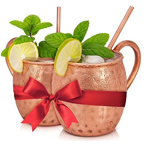 BEST MOSCOW MULE COPPER MUGS SET (2 Cups) For Classy Women, Shines Every Kitchen, Premium Solid Copper, Extra-Large Copper Mugs For Cocktails, Lemonade, Cold Drinks, The Perfect Gift For Any (Buy Mullet Wig)