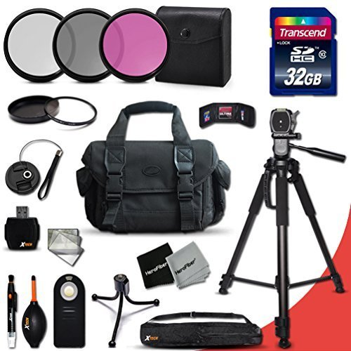Ideal 21 Piece Accessory Kit for Nikon D5500, Nikon D750, D5300, D5200, D5100, D3300, D3200, D3100, D7200, D7100, D7000, D810, D800, D610, D600, D4S, D4, D3S, D3X, D3 DSLR Cameras Includes 32GB High Speed Memory Card + Full Size Pro 72 Inch Tripod + Large Well Padded Case + 3 Piece Filter Set + 1 UV Protection Filter + External Remote Control + Universal Card Reader + Mini Table Tripod + Memory Case Holder + Screen Protectors + Mini Blower + Cleaning Pen + Lens Cap Holder + Deluxe Cleaning Kit + Ultra Fine HeroFiber Cleaning Cloth