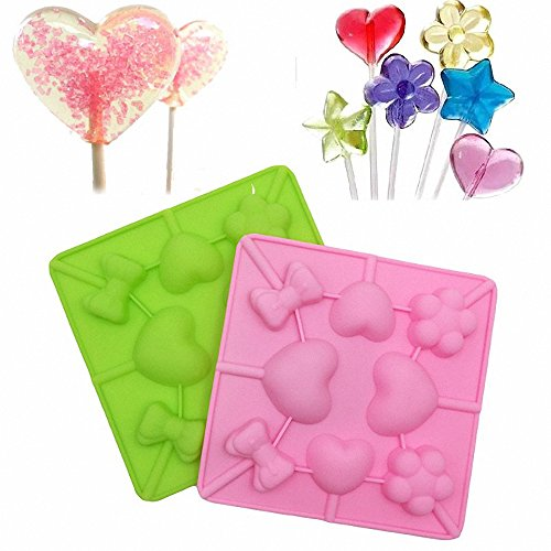 MoldFun 2-Pack Heart Sakura Bow Tie Lollipop Molds Set Lover Heart Cherry Blossom Silicone Lolly Pop Tray for Hard Candy Chocolate Gummy Sucker (Random Color)