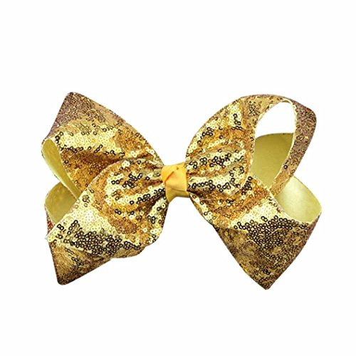 Hunpta Mädchen Haar Bogen Grosgrain Ribbon Boutique Knot Dance Glips Zubehör Gold