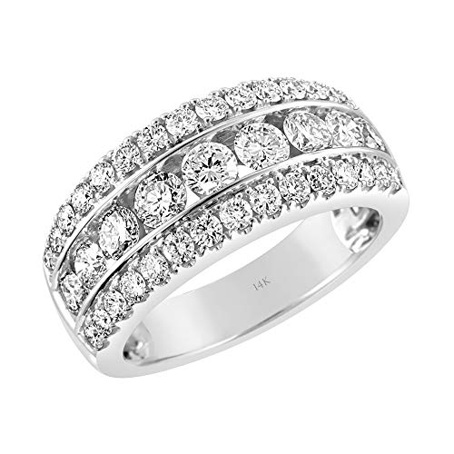 Brilliant Expressions 14K White Gold 2 Cttw Colorless Lab Created Conflict Free Diamond Triple Row Channel Set Anniversary Band (E-F Color, VS2-SI1 Clarity), Size 6