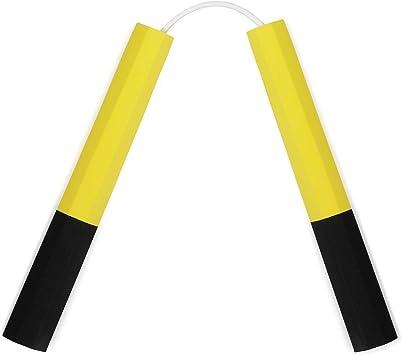 Playwell Deluxe Calidad 12 Largo Denso Espuma Octagonal Entrenamiento Nunchakus Negro Amarillo