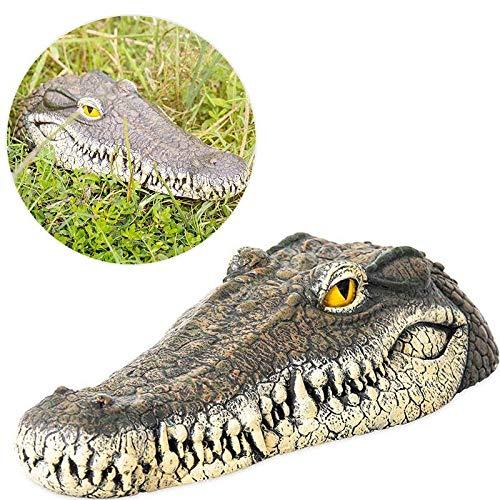 Crocodile Garden - Volwco Alligator Head Decoy & Pond Float,Outdoor Water Solution Floating Crocodile Head Garden,Pool Alligator Head Art Decor for Goose,Predator,Heron,Duck Control,33x15.5x7.5cm