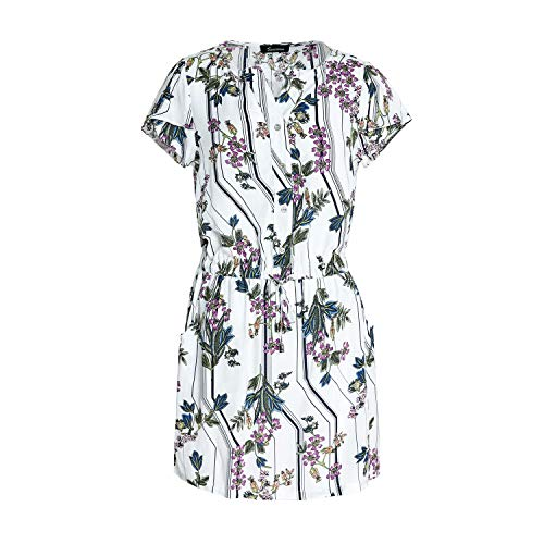 SUWIIAN Womens Dresses Summer Casual V-Neck Floral Print Geometric Pattern Belted Dress (White, ()