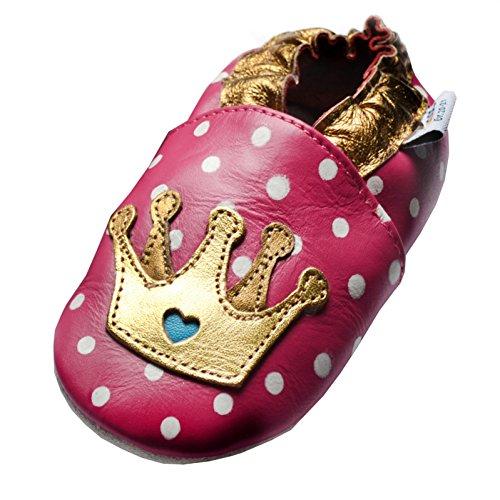 Jinwood designed by amsomo Verschiedene Modelle - Lederpuschen - Echt Leder - Hausschuhe - Krabbelschuhe - Mädchen - Jungen - Soft Sole/Mini Shoes Div. Groeßen 17/19-35/36 tiara fuchsia soft sole