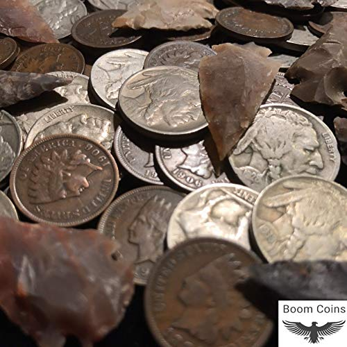 Native American Coin Artifact Lot ✯ Indian Head Cent Buffalo Nickel Arrowhead
