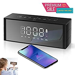 Bluetooth Speakers Dual Driver, ZealSound Wireless Speaker w/Stereo & Enhanced Bass, Loud Speaker for 24-hour Playtime, LED Display with Dimmer, Dual Alarm Clock, Snooze, FM Radio (Matte Black)