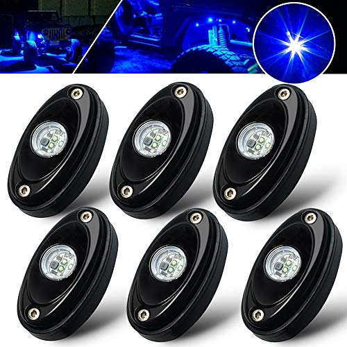 6 Pods LED Rock Light Kit Blue Light Lamp for Jeep Car UTV ATV SUV RZR Off Road Ranger Pioneer Wheeler Truck Trail bed lighting Boat underglow lights Waterproof