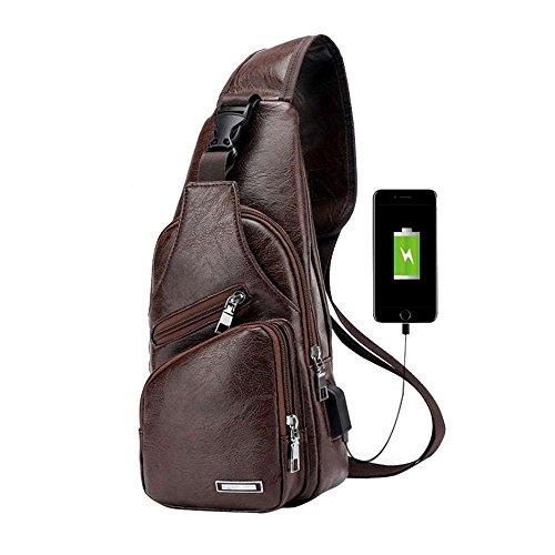 Pawaca - Bolso bandolera para hombre, piel sintética, con puerto USB, para negocios, senderismo, viajes, Café Oscuro, 1