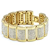 Mens Gold Tone Dome Link Iced Out Clear Cz Stones Hip Hop Bracelet 9'' Inches