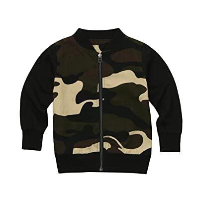 Foutou Little Baby Girls Boys Camouflage Print Tops Casual Zipper Jacket Coat Outfits