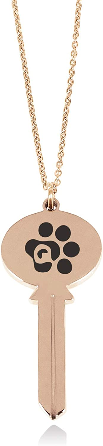 Tioneer Stainless Steel Letter Q Initial Cat Dog Paws Monogram Oval Head Key Charm Pendant Necklace