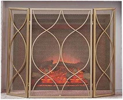 暖炉スクリーン 屋内/屋外装飾用金3パネル錬鉄製暖炉スクリーン、安全保護カバー、ベビーセーフティスパークガードカバー-65×30×84cm