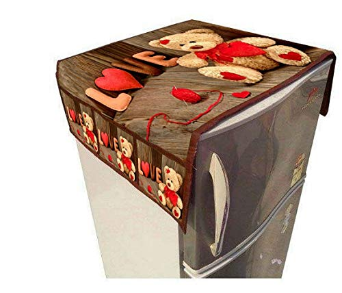 RS Home Furnishing Jute PVC Love Digital Printed 6 Pocket Refrigerator Top Cover Size-23x39-inch, Multicolor Cover