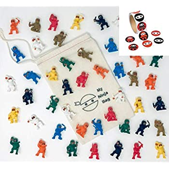 Complete Set of 48 Mini Ninjas Warriors with Storage Bag and 100 Stickers Karate Fighters Figures Cup Cake Toppers Ninja Kung Fu Guys Martial Arts ...