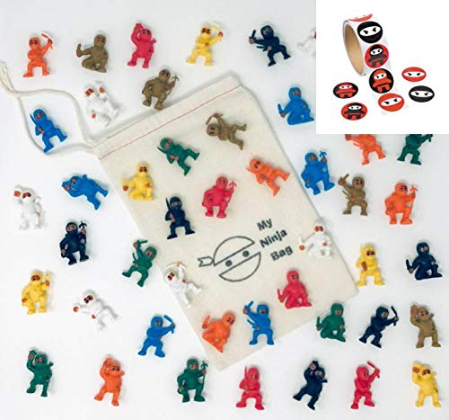 Complete Set of 48 Mini Ninjas Warriors with Storage Bag and 100 Stickers Karate Fighters Figures Cup Cake Toppers Ninja…