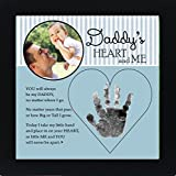 The Grandparent Gift Dad Handprint Frame: Daddy's Heart and Me, Blue, Black,