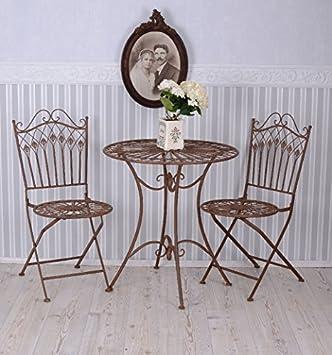 Amazonde Vintage Gartenmöbel Schmiedeeisen Set 1 Tisch 2 Stühle