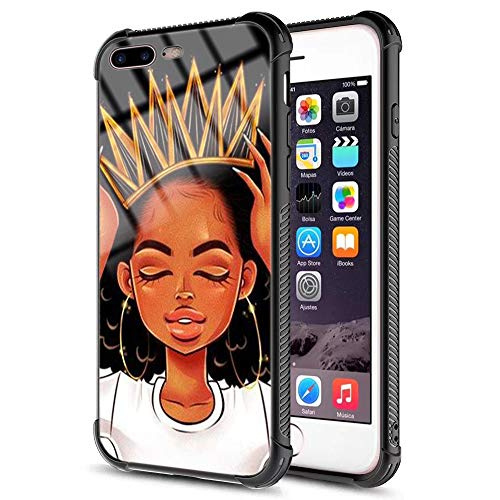 iPhone 7 Plus iPhone 8 Plus Case African Afro Girls Women Slim Fit Shockproof Bumper Cell iPhone Accessories Black Tempered Glass Protective Apple iPhone 7/8 Plus Case 5.5inch - Queen ()