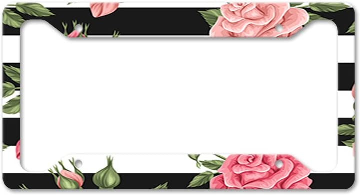 Style In Print Pink Roses with Stripes Auto Car License Plate Frame Tag Holder 4 Hole