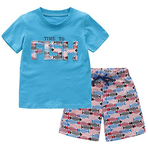 Fiream Baby Boys Cotton Sets Shortsleeve Summer Clothing Letter t-Shirts and Shorts 2 Pieces Sets(18007,3-4YRS)