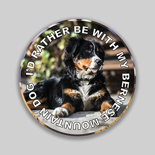 - JMM Industries I'd Rather Be with My Bernese Mountain Dog Puppy Vinyl Decal Sticker Car Window Bumper 2-Pack 4-Inches Round Premium Quality UV-Protective Laminate PDS1315