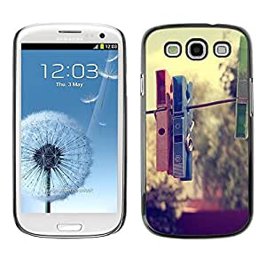 LECELL -- Funda protectora / Cubierta / Piel For Samsung Galaxy S3 I9300 -- Clothespin Hipster --