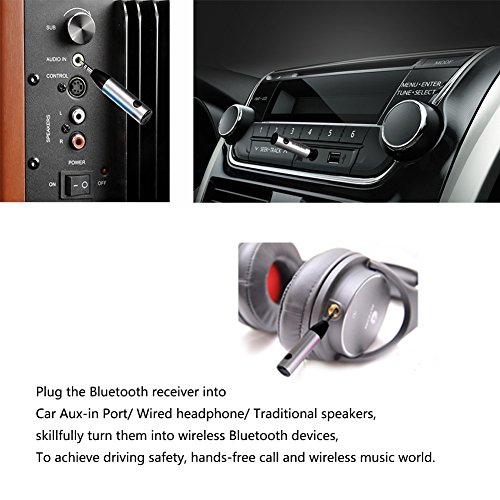 Bluetooth Receiver Hands Free Car Kit Wireless Music Adapter: Bluetooth Receiver RIVERSONG Streambot Bluetooth Music