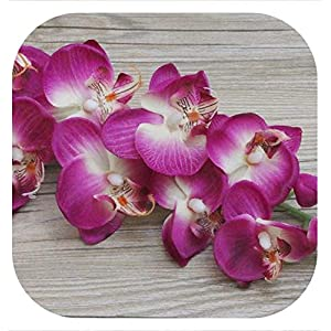Memoirs- 8 Heads Silk Phalaenopsis Simulation Orchids Artificial Flower for Wedding Home Decoration Gift 6Pcs/Lot,Purple Red 14