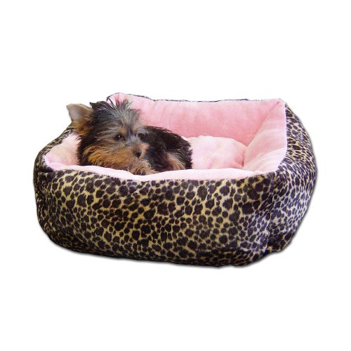Anima Pink Ultra Plush Leopard Print Bed with Removable Pillow, 16 by 16 by 5.5-Inch, My Pet Supplies