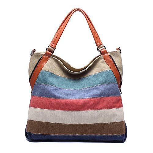 Stripe KEROUSIDEN toile messager Toile de Sac épaule 5cm en Portable 13cm Stripe 36cm Sacs de d'épaule sac à sac Couture 36 main rtSxOr