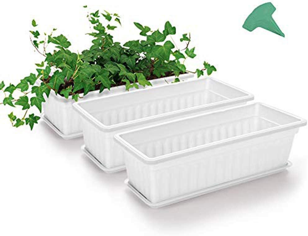 Wonepic Rectangular Flor Blanca Caja De Ventana De Plástico Jardineras Vehículos Crecientes Envase Con 15 Piezas De Etiquetas Planta Para Alféizar Jardín Decoración Del Hogar 3 Paquetes De 17 En white