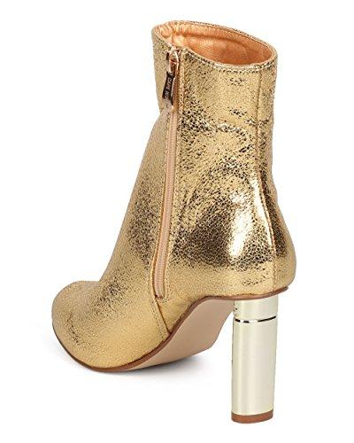 Stivaletto Con Tacco Metallizzato Cape Robbin Donna - Elegante, Formale, Trendy - Stivaletto Tacco Ovale - Gf77 By Gold