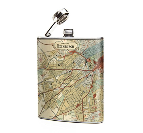 Oso and Bean Edinburgh Scotland Vintage Antique Map Designer Art Hip Flask by Oso and Bean
