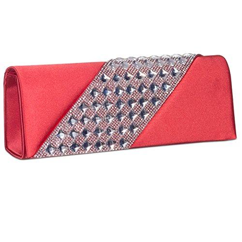 Xardi raso di seta da sposa frizione diamante Ladies Evening party Prom borse Purple