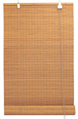 Seta Direct Bamboo Flat-Weave Sun-Filtering Roll Up Blind (36x66 Inch, Amber Honey)