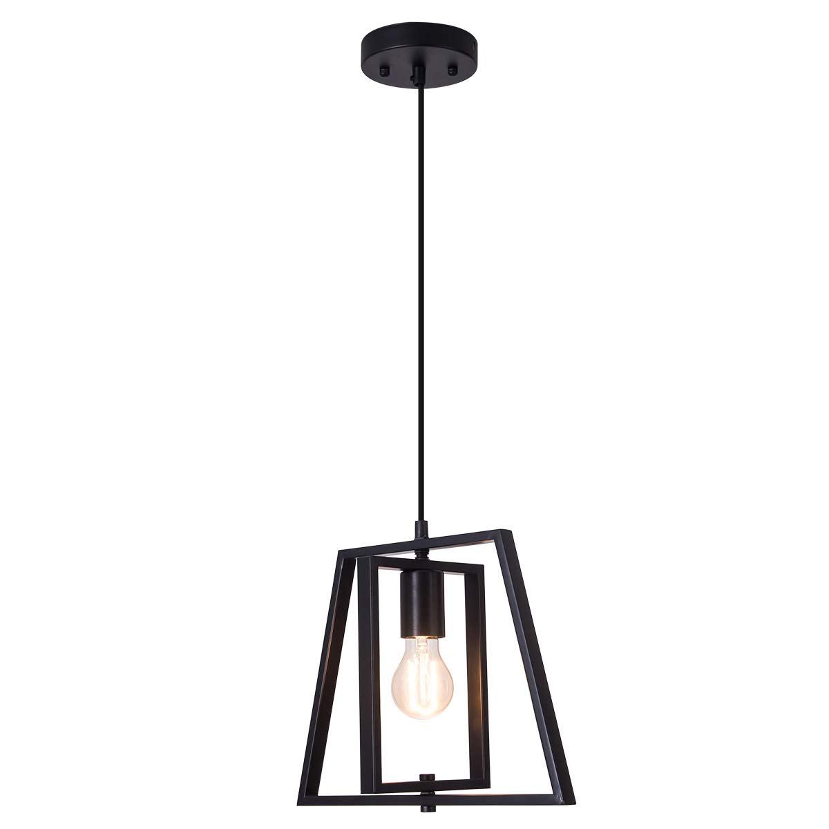Smellbt Modern Industrial Pendant Light in Welding Finish with Matte Black Shade, Adjustable Trapezoidal Pendant Lighting for Kitchen Island, Dining Rooms, Living Room, Bar